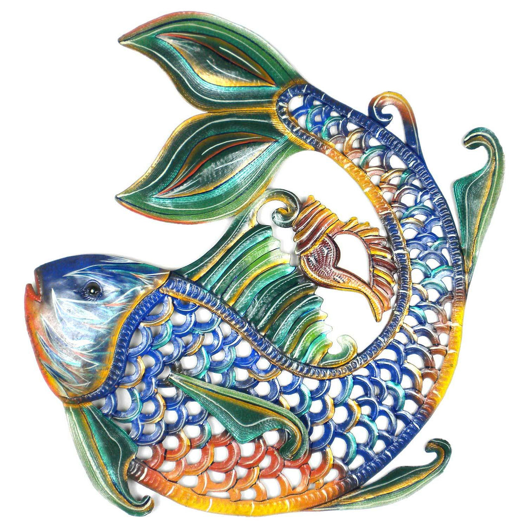 Global Craft: 24 inch Painted Fish & Shell - Caribbean Craft