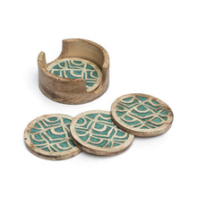 Load image into Gallery viewer, Global Crafts - Holi Color Rub Coasters - Peacock - Set of 4 - Matr Boomie