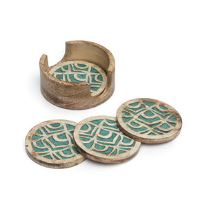 Global Crafts - Holi Color Rub Coasters - Peacock - Set of 4 - Matr Boomie
