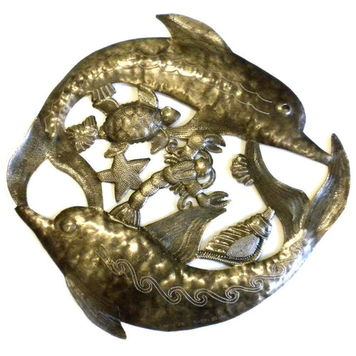 Global Crafts - Two Dolphins Metal Wall Art - Croix des Bouquets