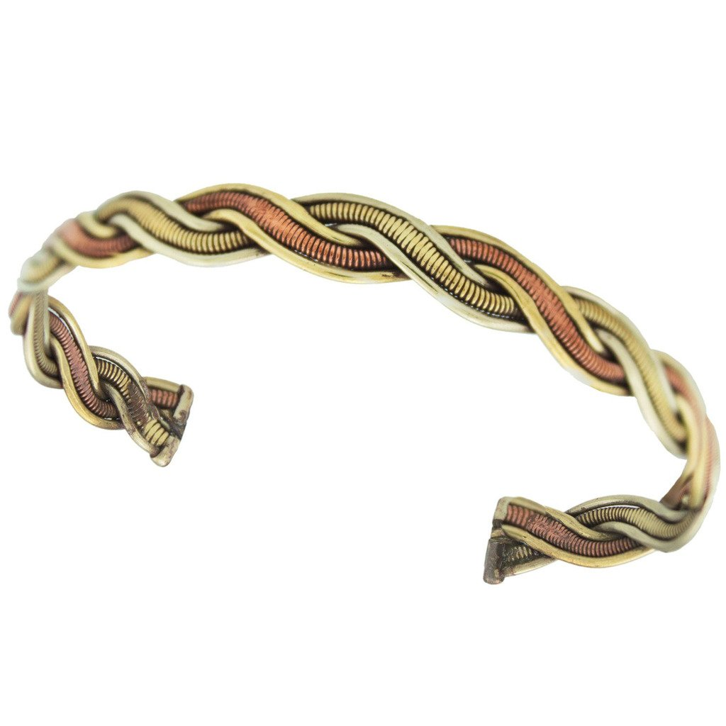 Global Crafts - Copper and Brass Cuff Bracelet: Healing Genie - DZI (J)