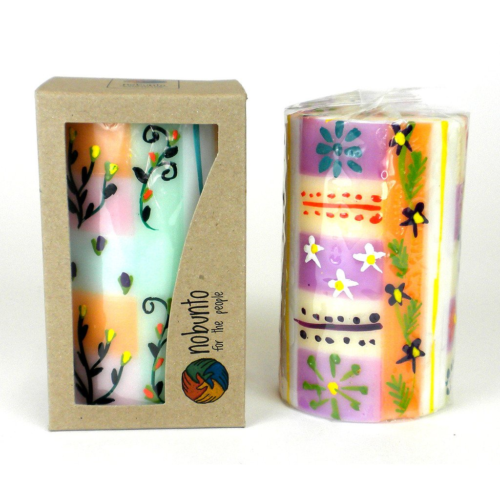 Global Crafts - Hand Painted Candle - Single in Box - Imbali Design - Nobunto