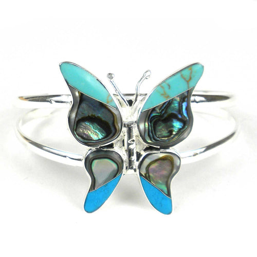Global Crafts - Turquoise Mosiac Alpaca Silver Butterfly Bracelet - Small - Artisana