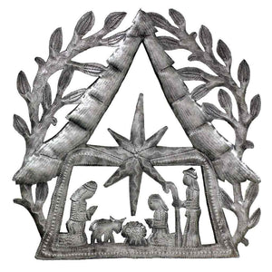"Global Crafts - Nativity Scene with Branches Metal Wall Art (11"" x 11"") - Croix des Bouquets"