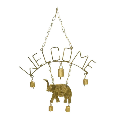 Global Crafts - Welcome Elephant Chime with Five Bells - Mira (Bell)