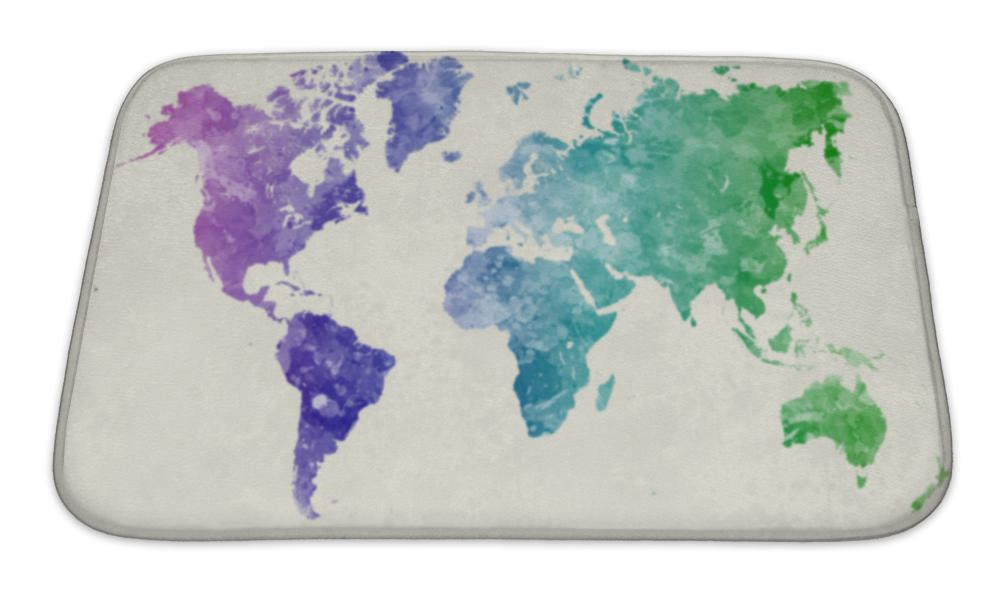 Bath Mat, World Map In Watercolor Cool