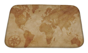 Bath Mat, Computer Generated Old Map Of The World