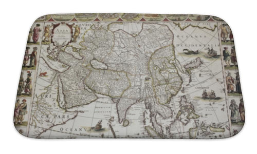 Bath Mat, Asia Old Map