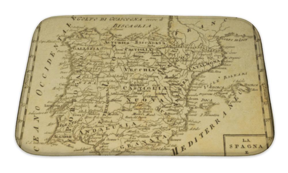 Bath Mat, Spain And Portugal Old Map