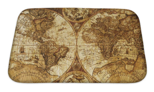 Bath Mat, Old World Map Vintage Design Concept