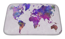 Load image into Gallery viewer, Bath Mat, World Map In Watercolor Purple Warm