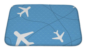 Bath Mat, Pattern With Plane Icons