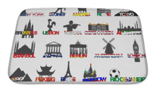 Load image into Gallery viewer, Bath Mat, Set Of Icons Symbols World Capitals