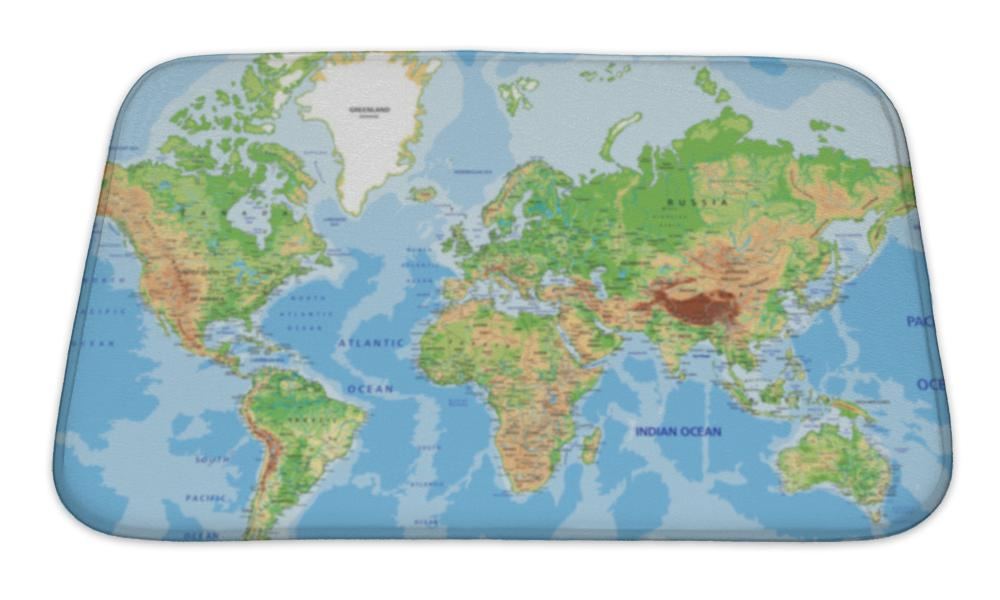 Bath Mat, World Map With Labeling