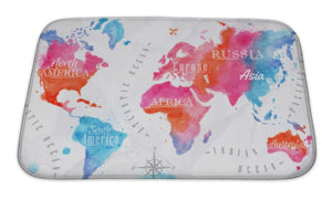 Bath Mat, Watercolor World Map Pink Blue