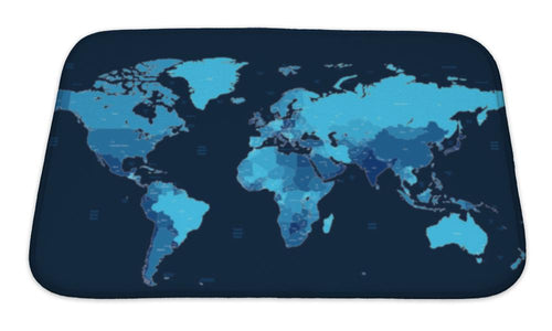 Bath Mat, Dark Blue Detailed World Map