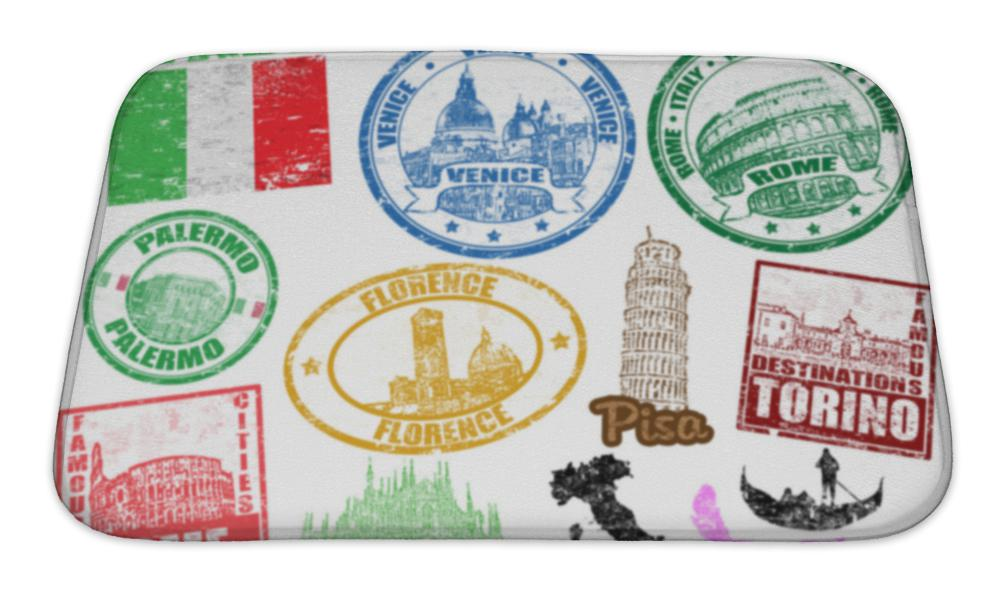 Bath Mat, Stamps With Italy