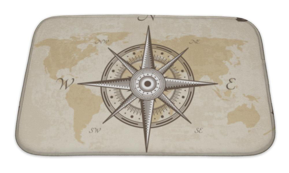 Bath Mat, Vintage Nautical Compass Old Map Paper Torn Border Frame Wind