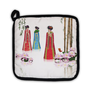Potholder, Chinese Girls At The Pond