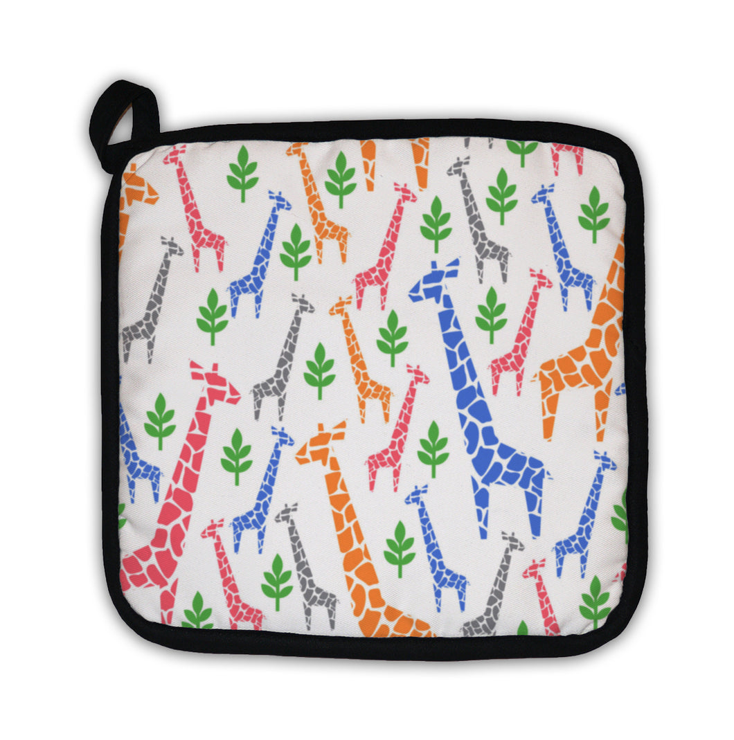 Potholder, Giraffes Family Pattern Safari Animal Pastel Colors Illustration Savannah