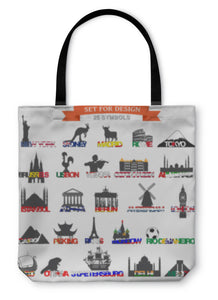 Tote Bag, Set Of Icons Symbols World Capitals