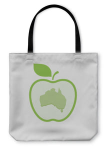 Tote Bag, Isolated Line Art Apple Icon With A Map Of Australia
