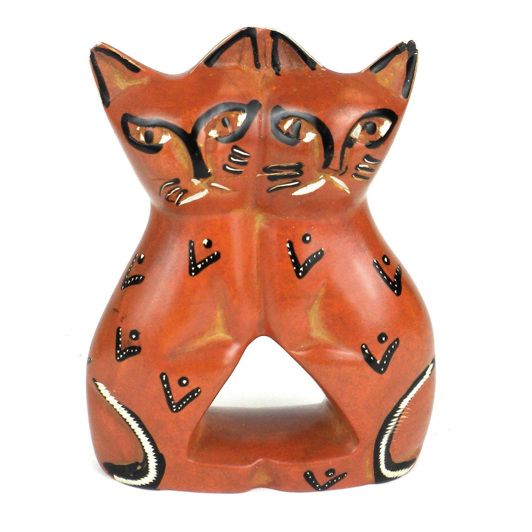 Global Crafts - Handcrafted 4-inch Soapstone Love Cats Sculpture in Brick - Smolart