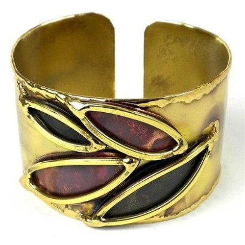 Leaves of Change Brass and Copper Cuff Handmade and Fair Trade