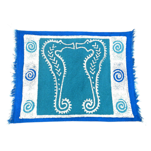 Global Crafts - Handpainted Blue Seahorse Batiked Placemat - Tonga Textiles