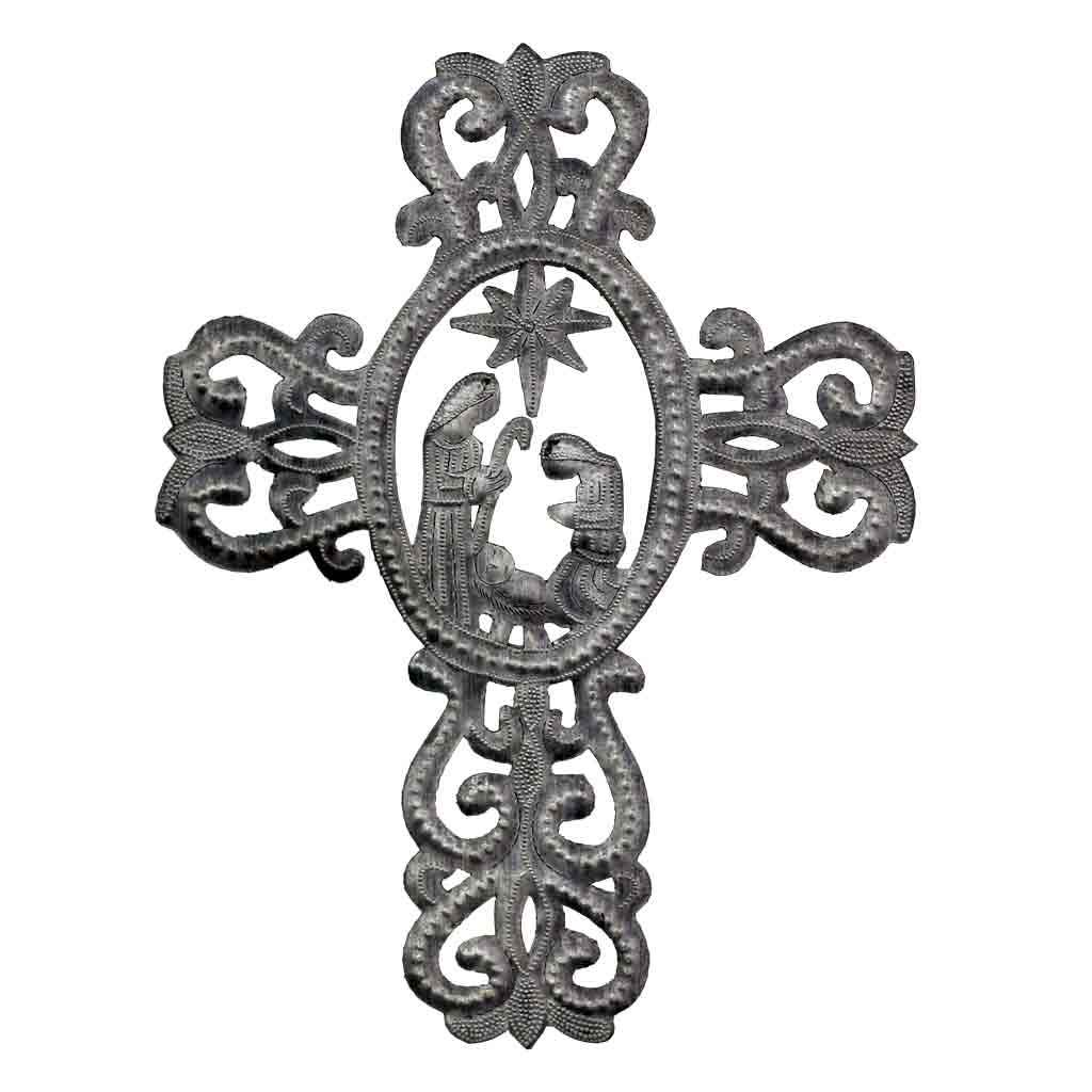 Global Crafts - Metal Cross with Nativity Scene (10