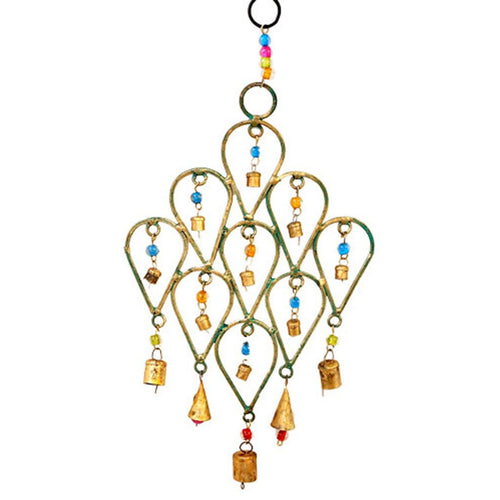 Global Crafts - Beaded Chime Tear Drop Design - Mira (Bell)