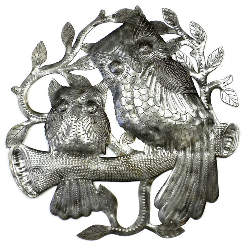 Global Crafts - Pair of Owls on Perch Metal Wall Art - Croix des Bouquets