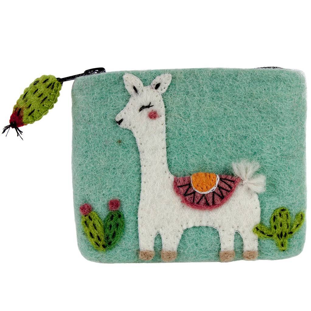 Global Crafts - Felt Happy Llama Coin Purse - Wild Woolies (P)