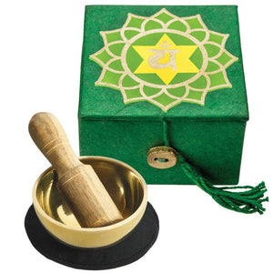 "Global Crafts - Mini Meditation Bowl Box: 2"" Heart Chakra - DZI (Meditation)"
