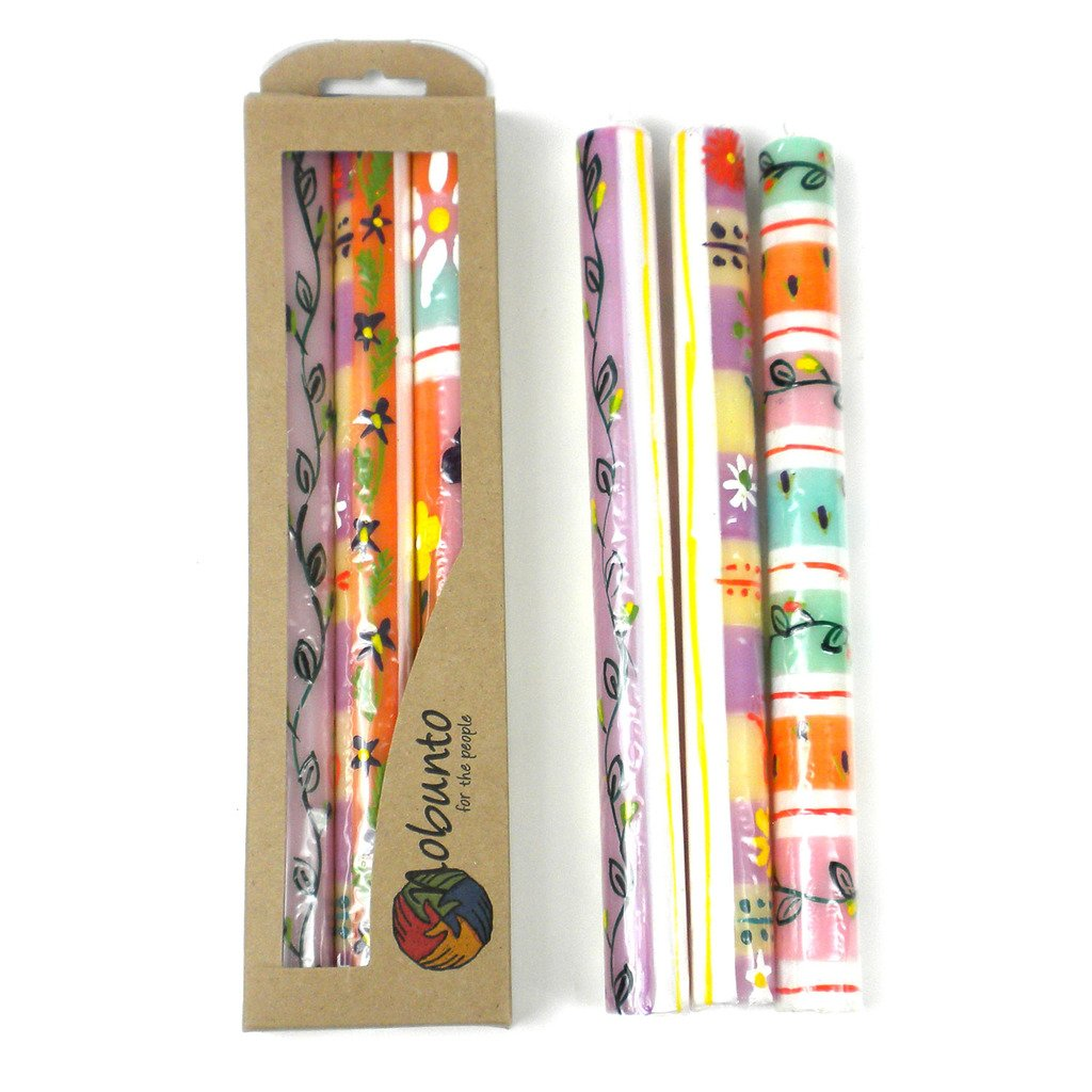 Global Crafts - Tall Hand Painted Candles - Three in Box - Imbali Design - Nobunto