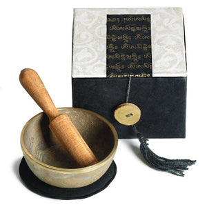 Global Crafts - Meditation Bowl Box: 3'' Om Mani - DZI (Meditation)