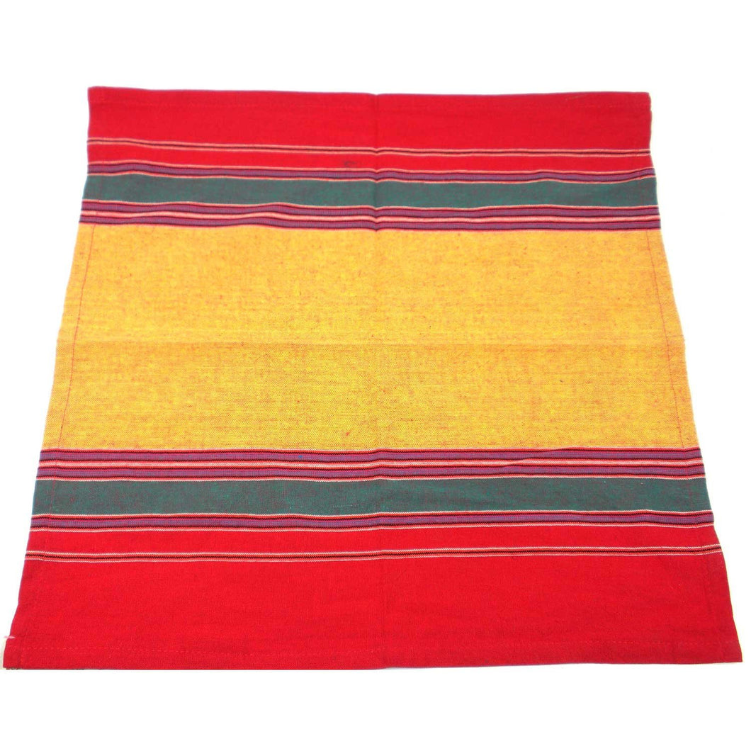 Global Crafts - Cotton Napkin in Yellow, Green and Red - Jeevankala (L)