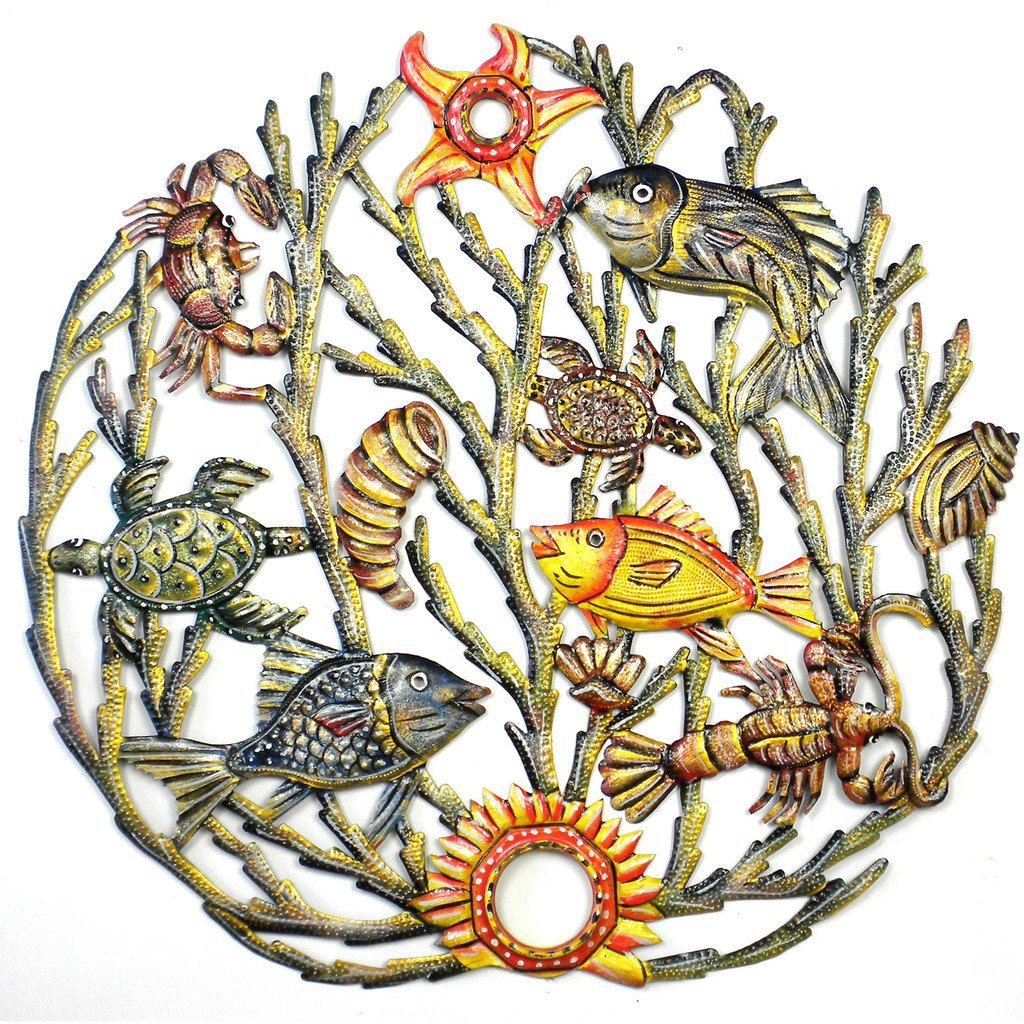 Global Crafts - Painted Sea life Metal Wall Art - Croix des Bouquets
