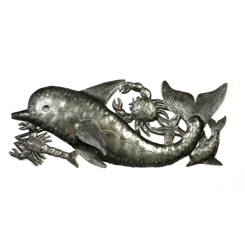 Global Crafts - Dolphin and Sealife Metal Wall Art - Croix des Bouquets