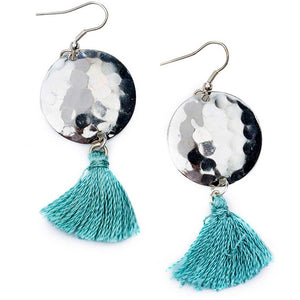 Global Crafts - Hammered Tassel Earrings - Matr Boomie (Jewelry)