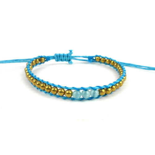 Global Crafts - 5th Chakra Bracelet - Blue - Global Groove (J)