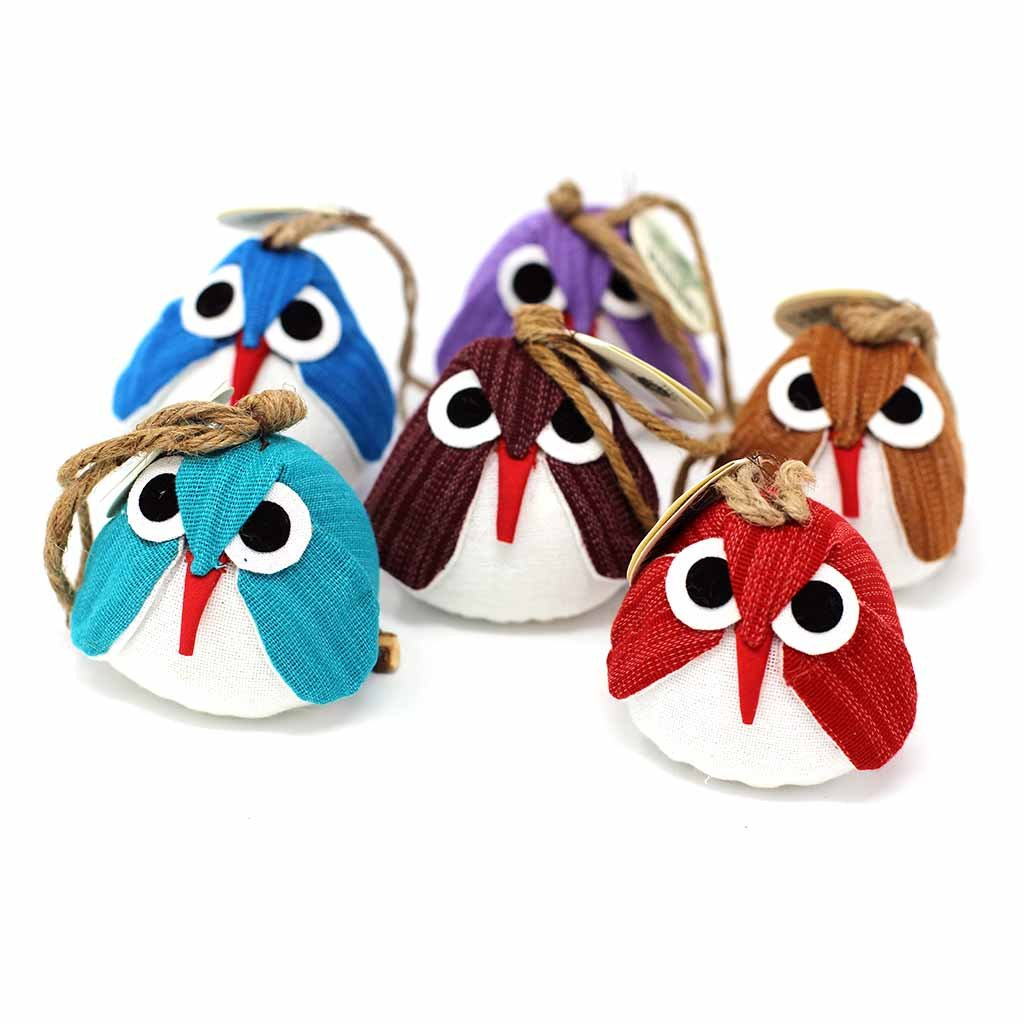 Global Crafts - Owl Ornament - Assorted Colors (3 Pack) - Marquet (O)