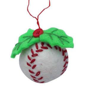 Global Crafts - Baseball Felt Ornament - Global Groove (H)