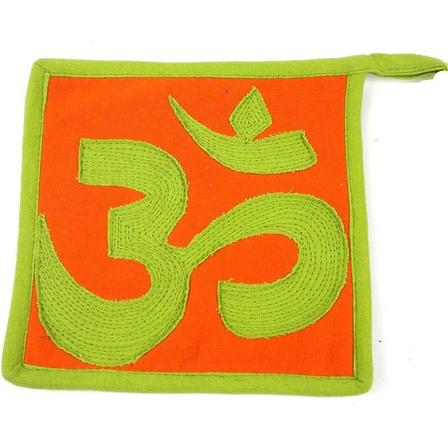 Global Crafts - Om Hot Pad Green and Orange - Jeevankala (T)