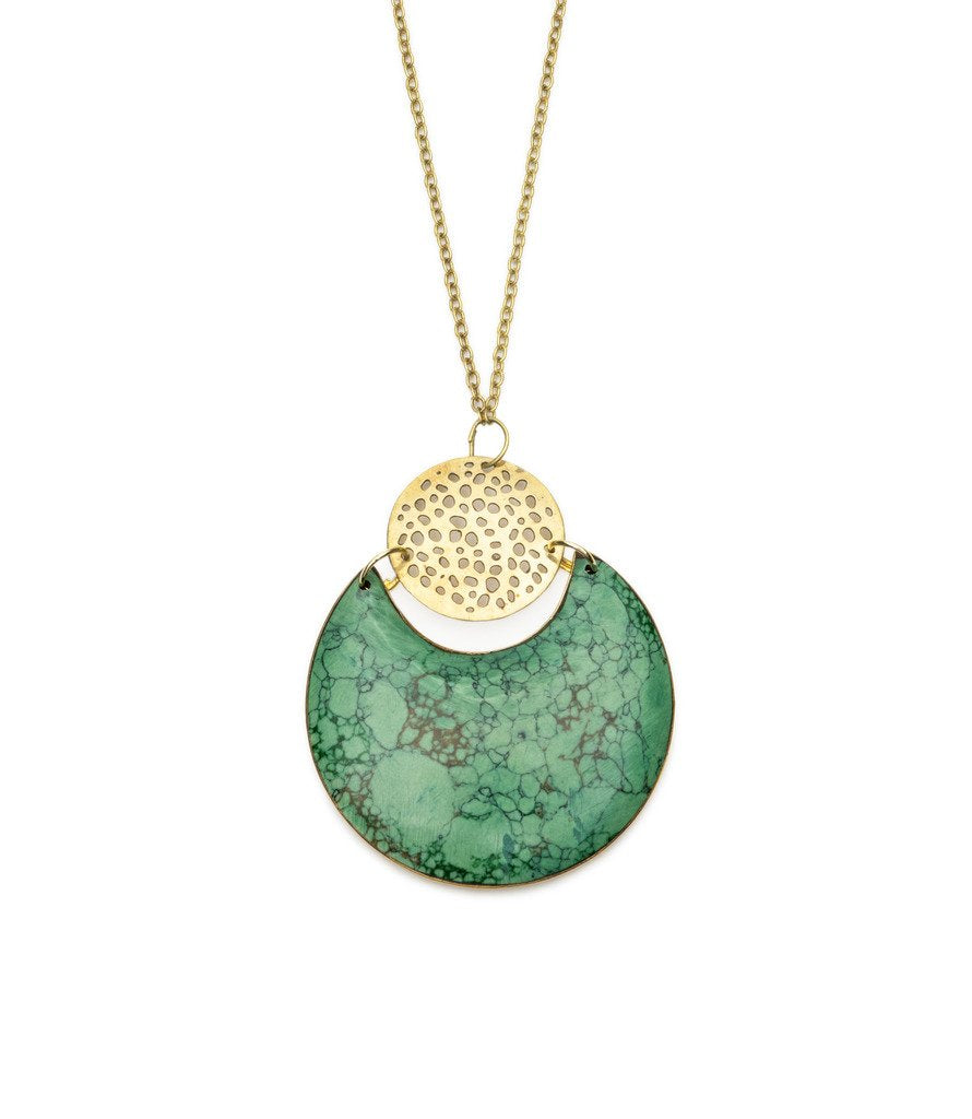 Global Crafts - Tara Stone Crescent Necklace - Matr Boomie (Jewelry)