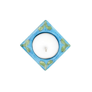 Global Crafts - Blue Pottery Tea Light Holder - Turquoise - Matr Boomie (Candle)