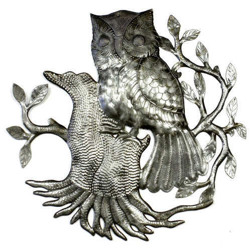 Global Crafts - Owl on Perch Metal Wall Art - Croix des Bouquets