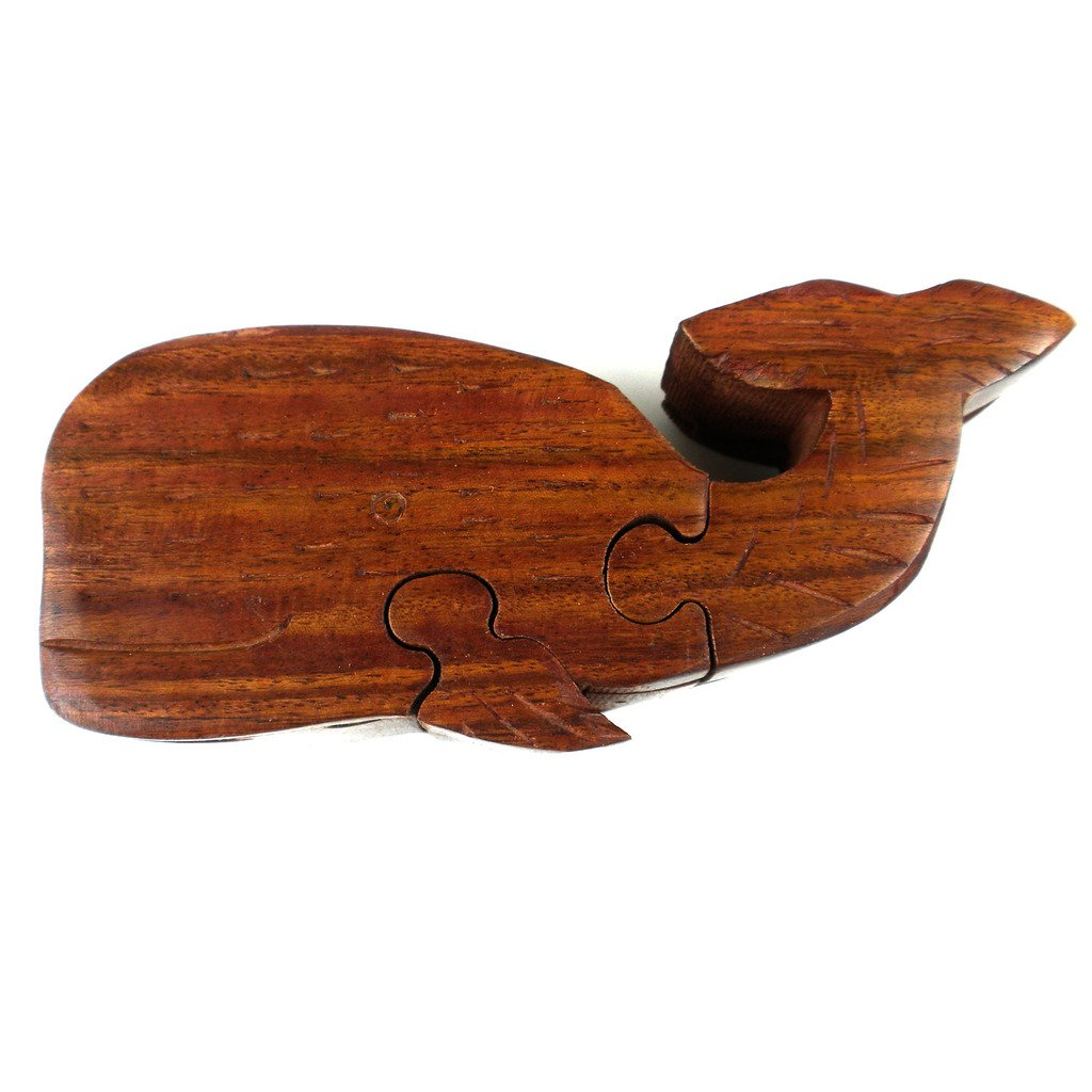 Global Crafts - Wood Whale Puzzle Box - Matr Boomie (B)