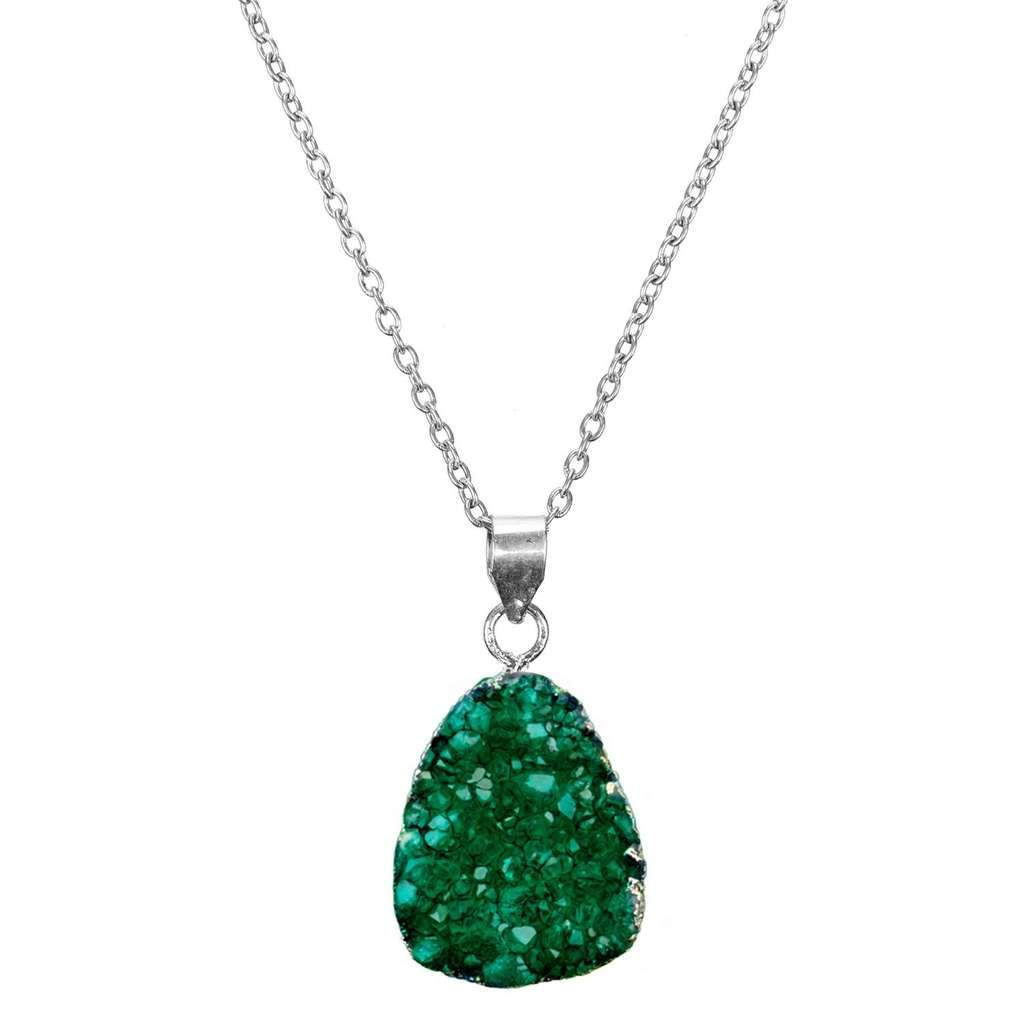 Global Crafts - Rishima Druzy Drop Necklace - Seafoam - Matr Boomie (Jewelry)