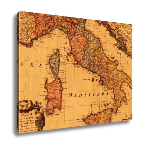 Gallery Wrapped Canvas, Antique Map Of Italy